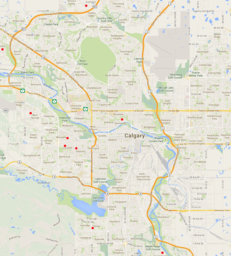 Dog walking Calgary map